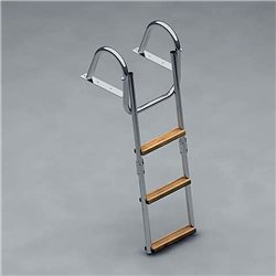 Polished stainless steel ladder