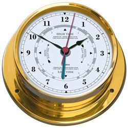 Lacquered brass clock with tide indicator NAVIGATOR Ø165