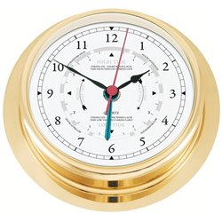 Polished brass clock with tide indicator NAVIGATOR Ø200