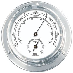 Chromed brass thermo-hygrometer