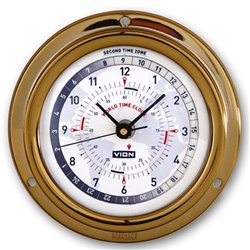 World time clock with 2 independent regulation time zones