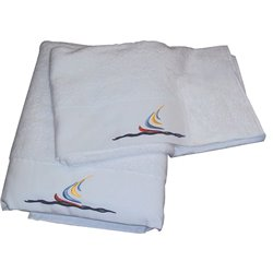 White towel 500g sailboat motif