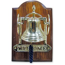 Bell on wooden base