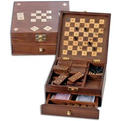 Wooden box with 4 games
