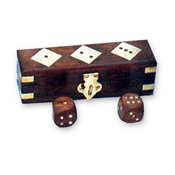 Wooden box with dice