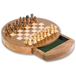 Chess round wooden box