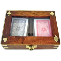 Wooden box with 2 decks of playing cards