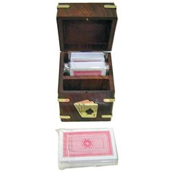 Wooden box with a deck of playing cards