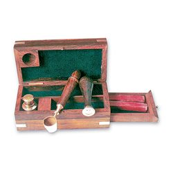 Wooden box with stamps set