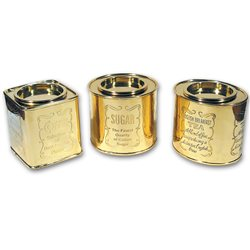 Set of 3 brass tins for sugar tea and coffè