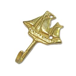 Brass coat hook sailing boat