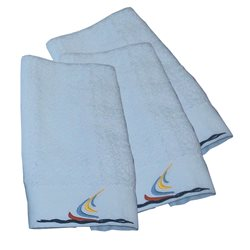 3 set white towel sailboat motif