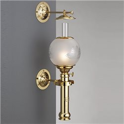 Hand polished and lacquered brass oil lamp with half-mat glass
