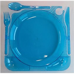 Box of 6 blue plastic reautilizable dishes with cutlery