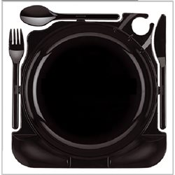 Box of 6 Black plastic reautilizable dishes with cutlery