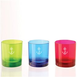 Box of 4 glasses (water/whisky) in policarbonate 25cl, anchor decorum